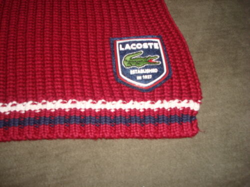 Details about  /AUTHENTIC LACOSTE BURGUNDY SCARF
