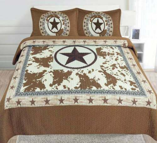 3 PIECE Texas Rustic Western Star Cowboy Design Quilt Barbed Wire BedSpread NEW!