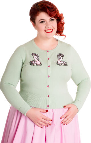 Hell Bunny NANCIE Vintage FLAMINGO  Strickjacke Plus Size Rockabilly