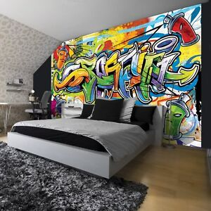 fototapeten fototapete tapeten wandbild poster tapete bunte graffiti 1400 p8 ebay. Black Bedroom Furniture Sets. Home Design Ideas