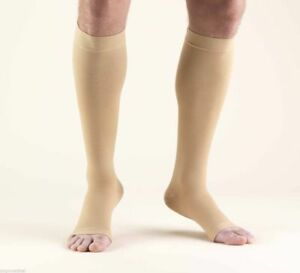Truform-20-30-Below-Knee-Compression-Stockings-Open-Toe-Beige