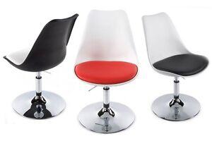Sedia-bianca-nera-rossa-design-tulip-Saarinen-eco-pelle-elevazione-gas-girevole
