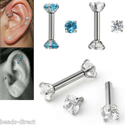 2x 16G CZ Gem Steel Barbell Ear Cartilage Tragus Helix Stud Bar Earring Piercing