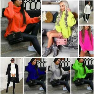 Polo-de-punto-para-Mujer-y-Damas-Cuello-Alto-Rodillo-Fluorescente-Grueso-Knitted-Jumper-Vestido
