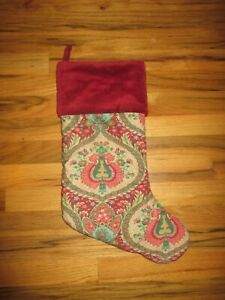 "Pottery Barn Christmas Stocking Red /& Green Paisley Velvet Cuff 16/""  Wool Blend"