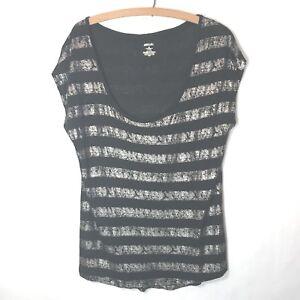 301a9872f6fc41 Details about Jennifer Lopez Top Womens Size XL Shirt Black Silver Metallic  Foil Thin Knit I02