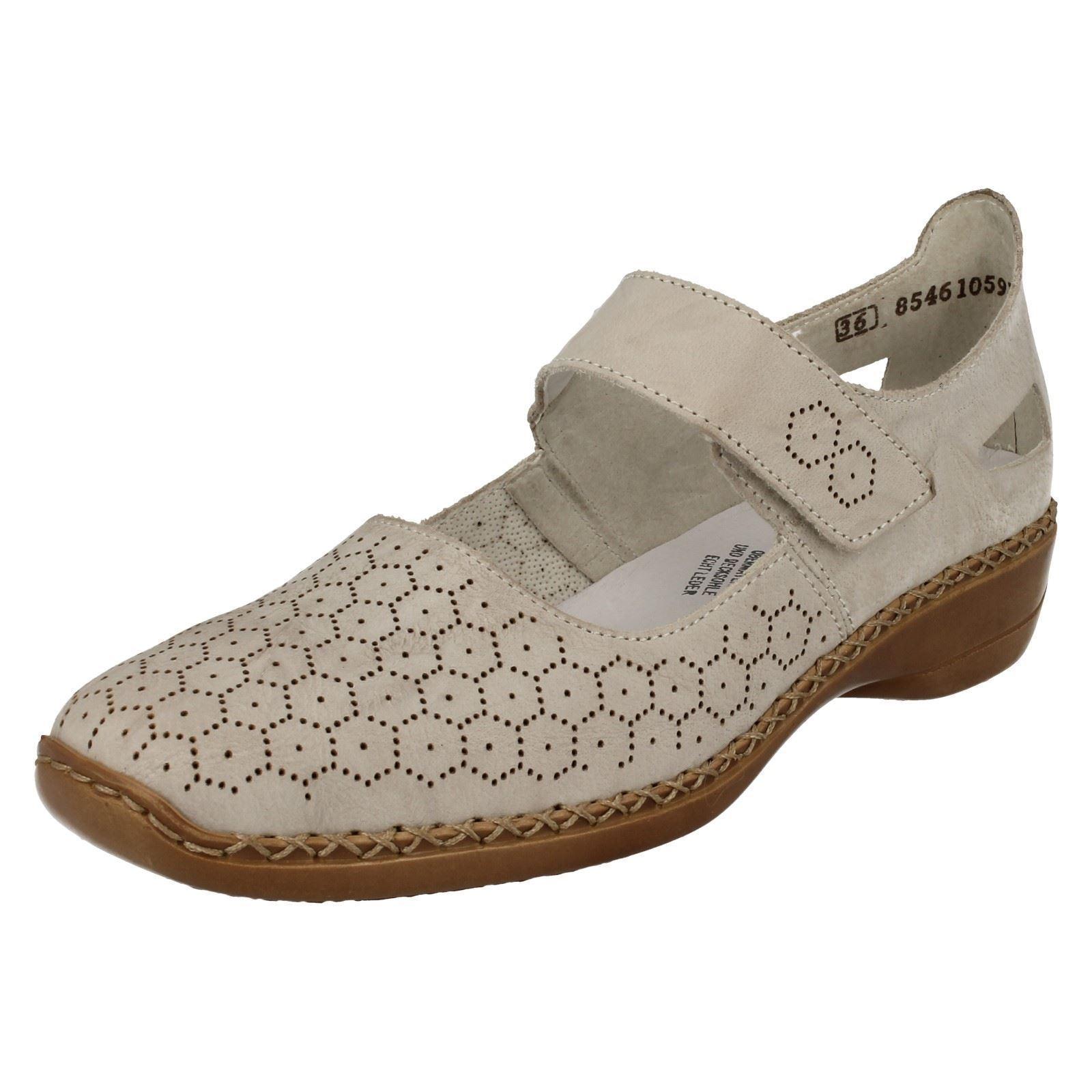 Moda barata y hermosa Descuento por tiempo limitado Ladies Rieker 41357 Beige Leather Casual Mary Jane Strap Shoes