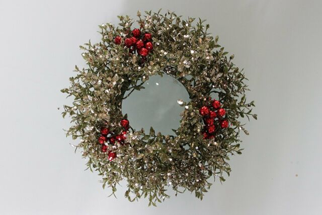 """3"""" Pillar Christmas Candle Ring / Holder with Festive Antique Silver Holly Decor"""