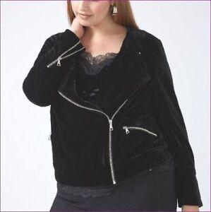 042b0451897 NEW  90 Lane Bryant Coat BLACK VELVET MOTO BIKER JACKET 1x 2x 3x ...
