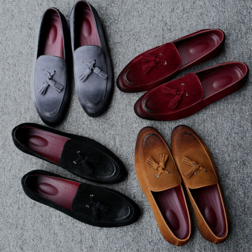 Casual Men/'s Suede Leather Shoes Slippers Flats Tassel Handmade Loafers Slip on