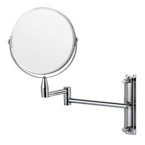 CHROME-WALL-MOUNTED-EXTENDING-BATHROOM-MIRROR-FOLDING-VANITY-MAGNIFYING