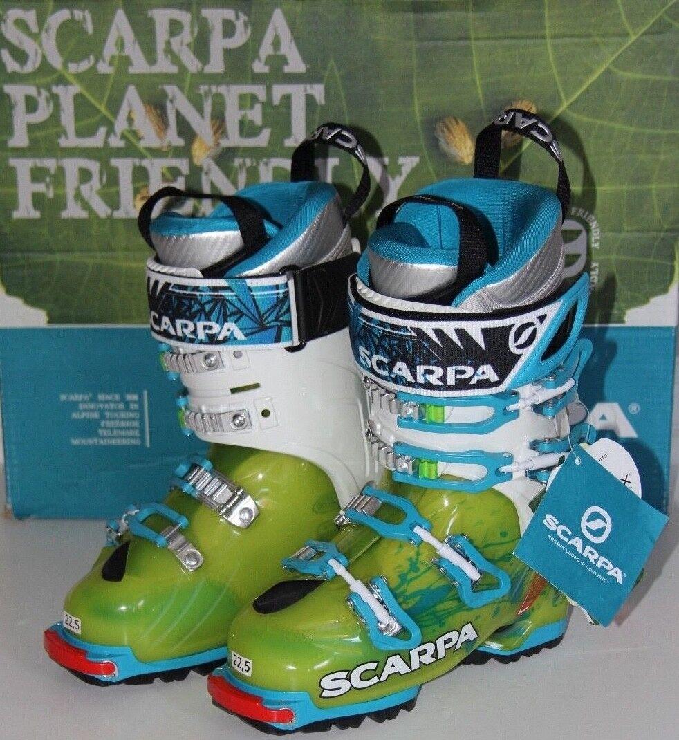 Scarpa Women's Freedom SL Ski Boot - Mondo  22.5 (US 5.5) - Lime Turquoise - NEW  low prices