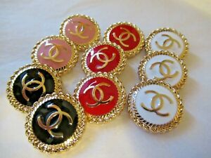 Chanel-10-mixed-buttons-20mm-lot-of-10-GOLD-tone-CC-STAMPED