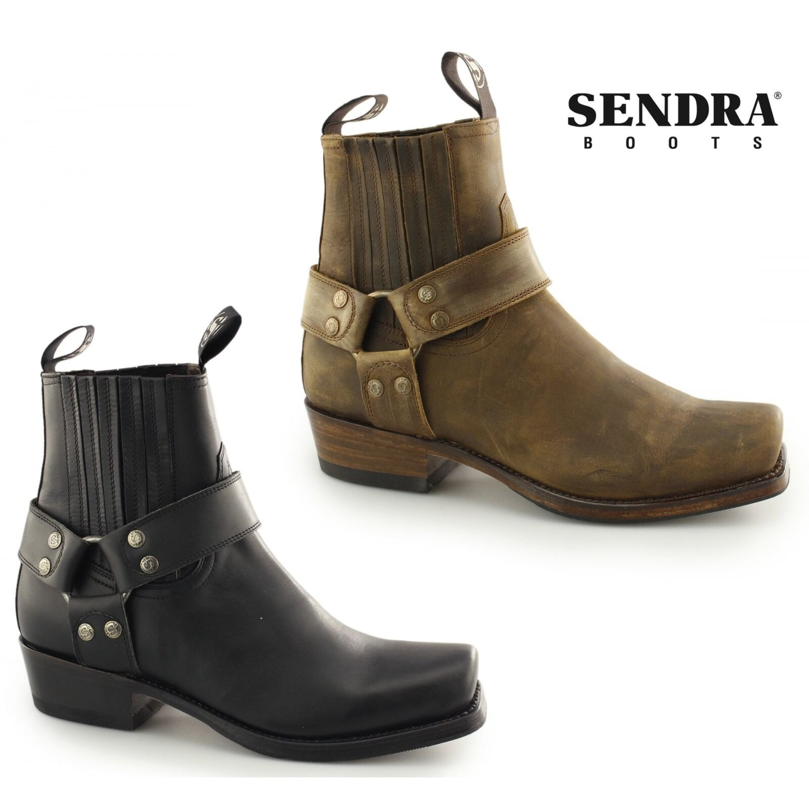 Sendra 8286 Mens Handmade Spanish Leather Pull On Harness Biker Motorcycle Boots