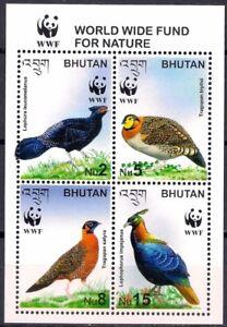 Bhutan 2003 Wwf Pheasants Birds Nature Wildlife 4v M/s Mnh Lovely Luster Aland