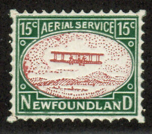 1931-Newfoundland-Stamp-Aerial-Services-MNH-VF-XF-15c-Green-Red-Brown-Bi-Plane