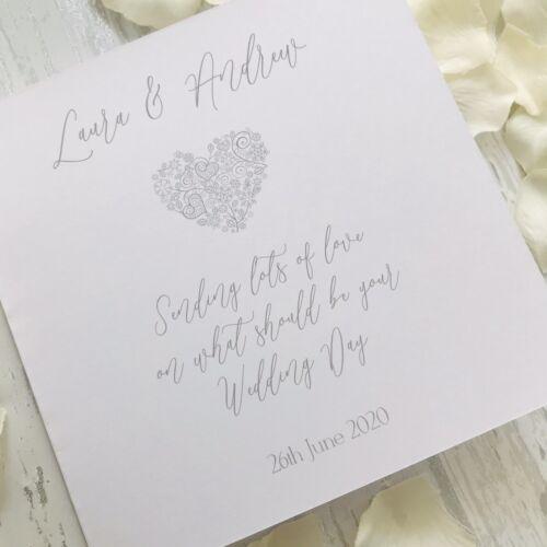 Personnalisé reportée Coeur Filigrane De mariage carte Mr /& Mrs Mme /& Mrs MR /& M.