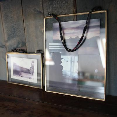 Nkuku TINY KIKO Photo Frame ANTIQUE ZINC-BRASS Set of 4 Double Sided MINI 5x5cm