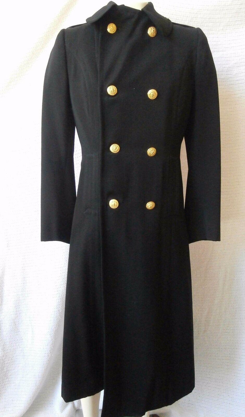 Vintage 1957 Womens US Navy Officers Long Coat, US Naval Uniform Shop Brooklyn