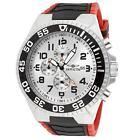 Invicta 12411 Men's Pro Diver Silver Dial Red & Black Rubber Strap Chrono Watch