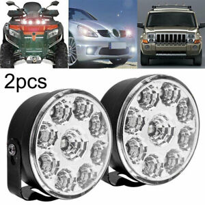 1-Pair-9-LED-Round-White-Daytime-Running-Driving-Fog-Light-Lamps-70mm-Diamete-UK