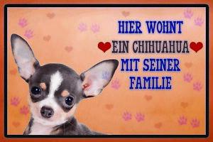 Ici-Wohnt-Chihuahua-avec-Famille-Panneau-Metallique-Plaque-en-Etain-20-X-30-CM