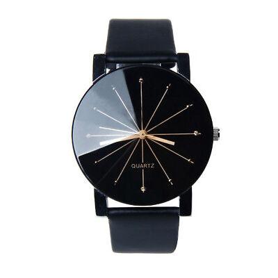 Uhr Armbanduhr Analog Modisch  Rund Watch Damen Quartz Schwarz Armband