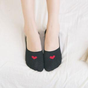 Women Love Heart Invisible Trainer Liner Socks No Show Footsies Non-slip 10 Pair