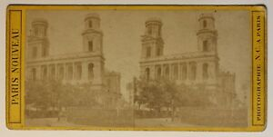 Parigi Chiesa Saint-Sulpice Francia Foto Stereo P49p2n Vintage Albumina c1870