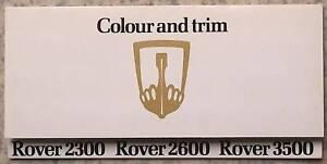 ROVER 2300 2600 3500 Car Colour Trim Chart c1977 #3251