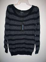 Women's Loulou Striped Festive Glitter Sweater Small W/ Tag Black Grey
