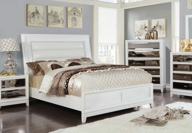 Bed Queen Size Gold Tint Mirror Panel White Finish Padded Leatherette Furniture