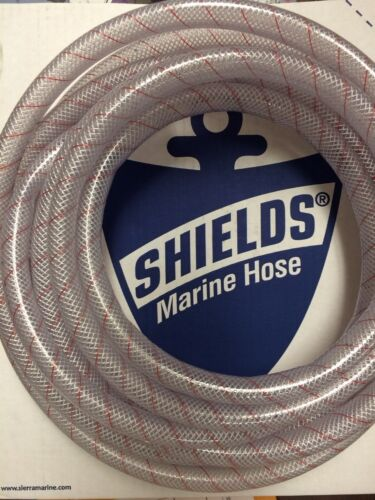 """HOSE CLEAR PVC TUBING RED TRACER 5//8/"""" 88 1620586 24FT MARINE BOAT WATER"""