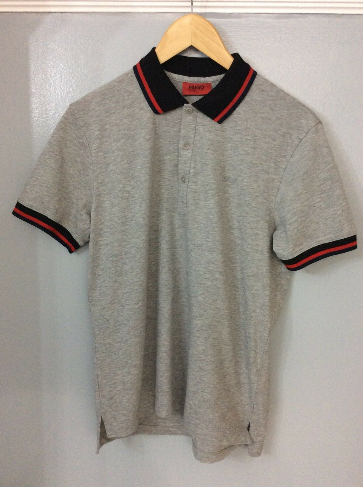 Hugo Boss Grey Short  Sleeve Polo Top Size S Small Immaculate Condition P2P 20""