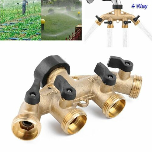 """4 Wege 3//4/"""" Wasserverteiler Messing Gartenschlauch Wasserhahn Verteiler Ventil"""
