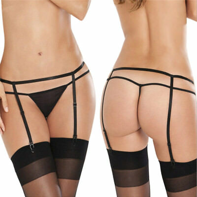 WomenBlack Lace Garter Belt High Waisted Suspenders Babydoll Lingerie Size S Ly