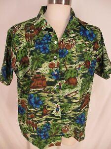 Aloha-Vtg-70s-Mens-Polynesian-Village-Disco-Hawaiian-Shirt-XL