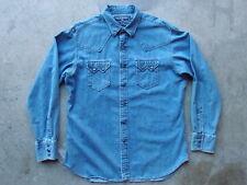Vintage Polo Sport Ralph Lauren Western Sawtooth Denim Shirt Size L Jean RRL