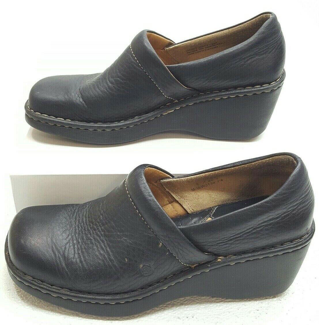 Born Women's Leather Mule Clogs Slip On Platform Wedge Heel Black Size 9