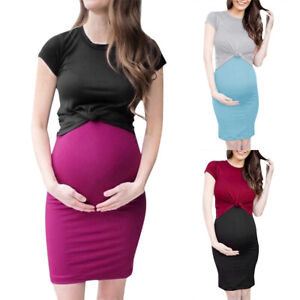 Women-2PCS-Pregnant-Maternity-Strappy-Dress-Short-Sleeve-Tops-Tee-T-shirt-Blouse