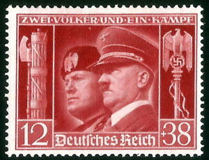 DR-Nazi-3rd-Reich-Rare-WW2-Stamp-Hitler-Mussolini-Head-Swastika-Fascist-Alliance