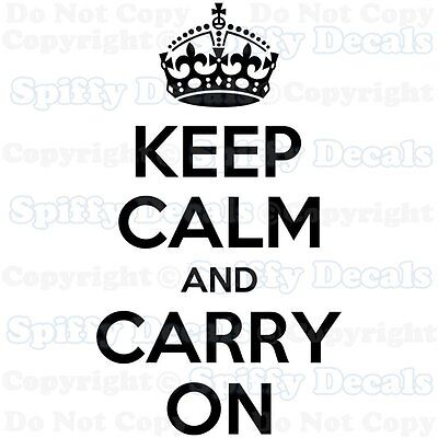 KEEP CALM AND CARRY ON WALL  QUOTE DECAL VINYL WORDS STICKER CROWN HOME DECOR