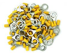 "100 Pack 10-12 Gauge Yellow Ring Tongue Terminal 1/2"" - SHIPS FREE TODAY!"