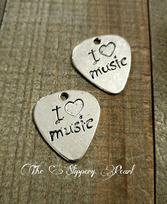 2 Guitar Pick Charms Antique Silver Tone Word Charms Quote Pendants I Love Music