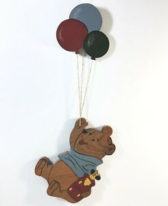 Winnie-The-Pooh-w-Balloons-Hand-Crafted-Wood-2-FT-Wall-Hanging-Americana-Decor