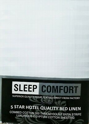 KING SIZE 300TC HOTEL WHITE STRIPES 12 INCH DEEP FITTED SHEET EGYPTIAN COTTON