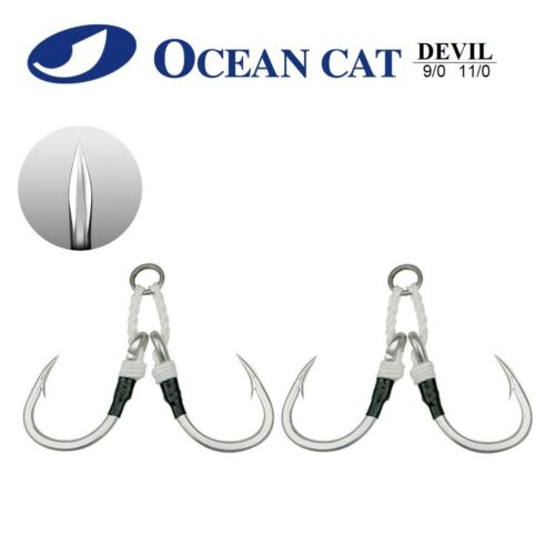 OCEAN CAT 2 Pairs//Pack Assist Devil 4 Braided Jigging Jigs Slow Fast Fall Hooks