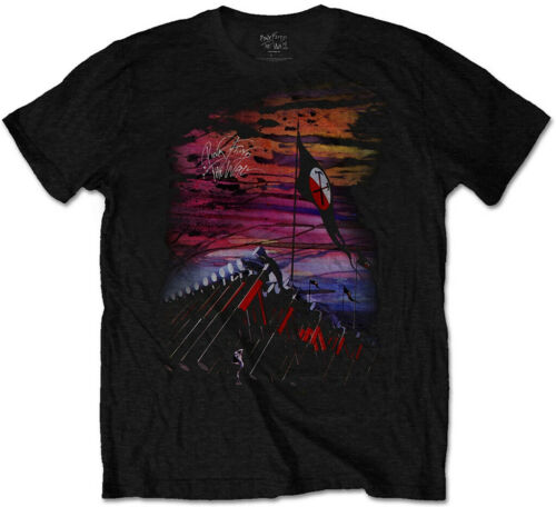 NEW /& OFFICIAL! T-Shirt Pink Floyd /'The Wall Flag /& Hammers/' Black