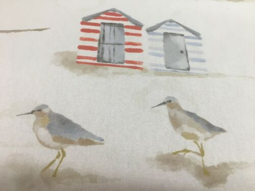 Vintage Birds /& Beach Huts Cotton  140cm wide Curtain//Craft Fabric