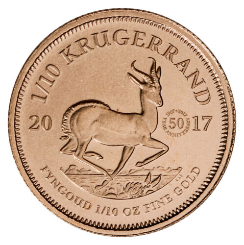 2017 South Africa 1/10 oz Gold Krugerrand 50th Anniversary Privy Gem BU SKU48542